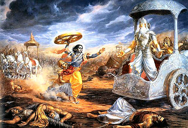Krishna confronts Bhisma on the battle field