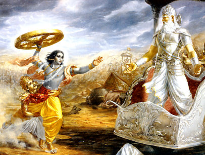 Bhisma confronts Krishna in battle