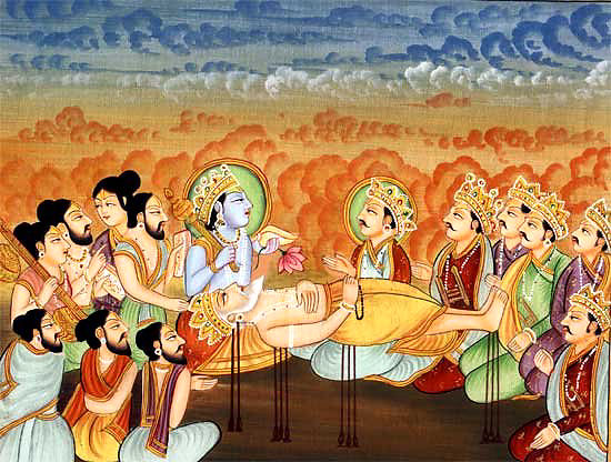 Istruzioni di Bhismadeva sul suo letto di morte di frecce  Bhisma-arrows-bed
