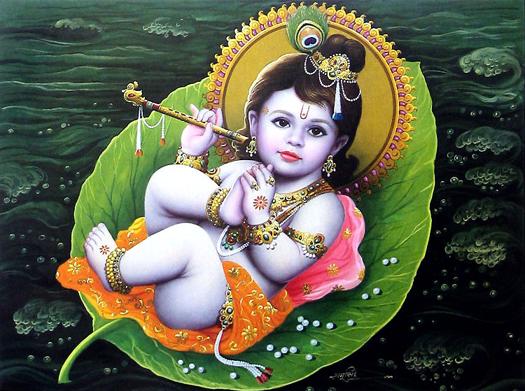 The narration of Krishna sucking his toe,