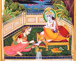 Radha paints Krishnas Lotus Feet