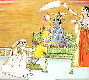 Radha worships Krishna's Lotus Feet