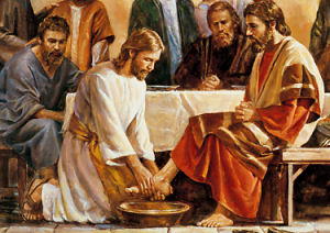 Jesus, the son of Christ, washing Feet