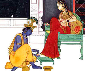 Krishna washing Radhas Lotus Feet