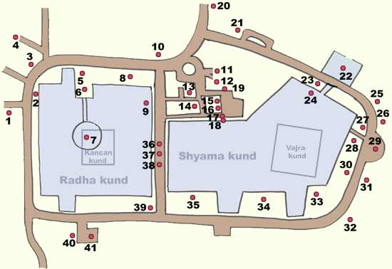 Map of Radha-Kunda / Syama-kunda