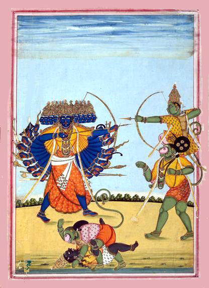 Lord Rama, on the shoulders of Hanuman, kills Ravana